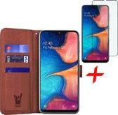 Samsung Galaxy A20e Hoesje + Screenprotector Full Screen - Book Case Portemonnee - iCall - Bruin