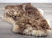 Lamsvachtje Creme met Donkere Tops – 110 x 65 cm - Zeer Mooi Haar - 100% ECHT - Schapenvachtje Vloerkleed - Lam Huid