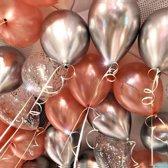 Luxe Ballonnen RoseGold Zilver Confetti - 15 Stuks - Chrome Metallic Ballonnenset