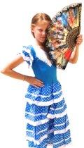 Spaanse jurk - Flamenco - Blauw/Wit - Maat 140/146 (12) - Verkleed jurk