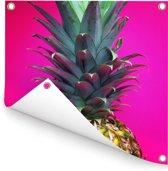 Close up van een kleurrijke ananas Tuinposter 50x50 cm - klein - Tuindoek / Buitencanvas / Schilderijen voor buiten (tuin decoratie)