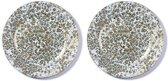 2x Ronde witte/gouden kaarsenplateaus/kaarsenborden met vintage patroon 33 cm - onderborden / kaarsenborden / onderzet borden voor kaarsen