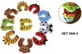 Set van 4 deurstoppers van foam - Veiligheids deurstopper kind / baby - Klem bescherming voor deuren en ramen - multicolour dieren