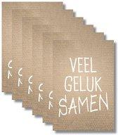 6x dubbele wenskaart met envelop - Huwelijk - 11,5 x 17 cm
