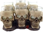 Six Shooter Skulls set van 6 shot glazen creme - Nemesis Now