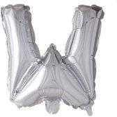letterballon - 100 cm - zilver - W