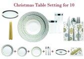 Deluxedisposables  -Luxe wegwerp eenmalig plastic tafel Serviesset voor 10 personen transparant-zilver + Decorative set  : 20 servetten  + 2 kaarsen 24 cm  GRATIS !