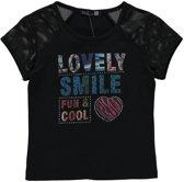 Losan Meisjes Shirt Top Zwart met print - T157