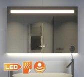 Fraaie badkamer spiegel met klok duo verlichting en verwarming 80x60 cm