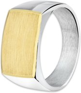 The Jewelry Collection Ring Dwarsmodel Gediamanteerd - Zilver met geelgoud