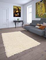 Gunstig Effen Hoogpolig Vloerkleed  -  120X170 cm  - Cream