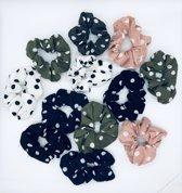 Scrunchie 12 stuks - haarelastiek -elastiek - haarwokkel - scrunchies - oudroze - blauw - zwart- groen - zwart - zwart met witte stippen - wit met zwartte stippen