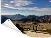 Uitzicht over het land van de oude stad Petra Tuinposter 160x120 cm - Tuindoek / Buitencanvas / Schilderijen voor buiten (tuin decoratie) XXL / Groot formaat!