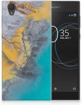 Sony Xperia L1 TPU Hoesje Design Marble Blue Gold
