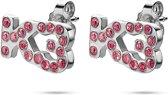 Twice As Nice K3 collectie, oorbellen, K3 in roze steentjes roos