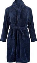 Kinderbadjas - donkerblauw - fleece - meisjes & jongens - ochtendjas- maat 110/116
