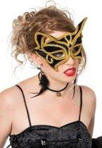 Masker kat zwart met goudband