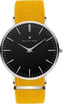 Wallace Hume Zwart - Horloge - Perlon - Geel