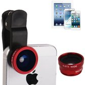 Universele 3 in 1 foto lens kit 180° Fisheye + Wide lens + Macro lens geschikt voor o.a. iPhone en Samsung