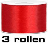 Satijn lint rood 38mm/rol 25m set 3 rollen