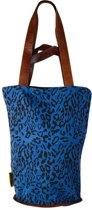 Mycha Ibiza – leopard tas - shopper - tas met rits - donkerblauw – Ibiza – 100% katoen