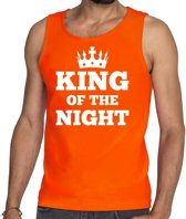 Oranje King of the night tanktop / mouwloos shirt heren - Oranje Koningsdag kleding S