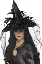 Halloween Zwarte heksenhoed met veren sluier