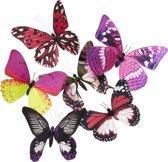 Vlinder magneet roze/paars 13,5 cm