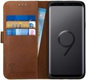 Rosso Deluxe Samsung Galaxy S9 Hoesje Echt Leer Book Case Bruin
