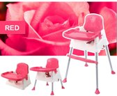 4-in-1 Meegroei Kinderstoel met Veiligheidsgordel - Leeftijd 6M t/m 8 Jaar - Draagbare Stoelverhoger met Verstelbare Eetblad en Afneembaar Dienblad - Meegroeistoel met Anti-Slip Poten - Rozerood