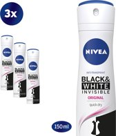 NIVEA Invisible For Black & White Clear Deodorant Spray - 3 x 150 ml - Voordeelverpakking