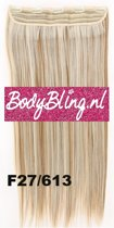 Clip in hairextensions 1 baan straight blond - F27/613