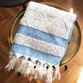 Be Fabric Turkse Handdoek -  Blauw & Beige - 50 x 105 cm