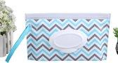 Natte doekjes houder Bleu - vochtige billendoekjes doos - wipe box  - make-up case - ECO vriendelijk herbruikbaar zakje - hoes - kraamgeschenk - pouch voor onderweg - cado