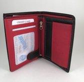 Tepassa - Billfold portemonnee Echt Leer ruimte voor minimaal 10 pasjes / Zwart - Rood