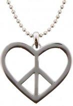 Ketting Hart en Peace Sign - 80 cm - Zilverkleurig - Musthaves