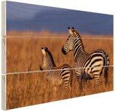 Moeder en baby zebra Hout 30x20 cm - klein - Foto print op Hout (Wanddecoratie)
