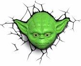 3DlightFX Star Wars Yoda Head - Wandlamp - Nachtlamp met wandsticker en timer functie - energiezuininge LED verlichting - 32 x 23 cm.