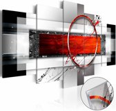 Afbeelding op acrylglas - Abstract rood, 2 Maten, 5luik