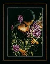 borduurpakket PN0165378 vrouw met bloemen