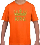 Oranje King gouden glitter kroon t-shirt kinderen - Oranje Koningsdag/supporter kleding M (134-140)
