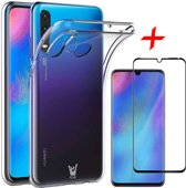 iCall - Huawei P30 Lite Hoesje + Screenprotector Full Screen - Transparant Siliconen TPU Soft Gel Case