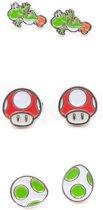 Nintendo - set bestaande uit 3 paar oorbellen met Yoshi, Egg en Mushroom