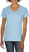 Basic V-hals t-shirt licht blauw voor dames - Casual shirts - Dameskleding t-shirt licht blauw L (40/52)