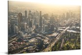 Luchtfoto met een zonsondergang over Melbourne in Australië Aluminium 30x20 cm - klein - Foto print op Aluminium (metaal wanddecoratie)