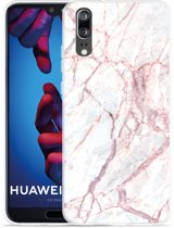 Huawei P20 Hoesje White Pink Marble