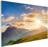 Zonsondergang in de bergen Glas 90x60 cm - Foto print op Glas (Plexiglas wanddecoratie)