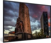 Foto in lijst - Fontein midden in Mexico-stad fotolijst zwart 60x40 cm - Poster in lijst (Wanddecoratie woonkamer / slaapkamer)