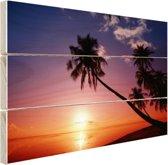 Silhouet van palmbomen bij zonsondergang Hout 120x80 cm - Foto print op Hout (Wanddecoratie)