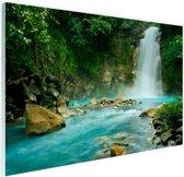 Rio Celeste waterval Glas 120x80 cm - Foto print op Glas (Plexiglas wanddecoratie)